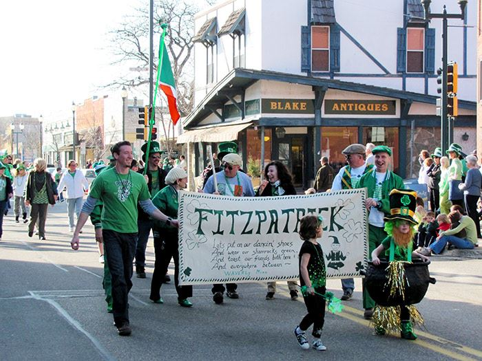 Participants Walking in St. Patricks Day Parade